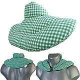 Nackenhörnchen mit Stehkragen grün-weiß | Leinsamenkissen | Nackenkissen Wärmekissen - Ein sehr wohliger Nackenwärmer