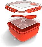 Rotho Memory Microwave Reiskocher 2.5l mit Deckel und Löffel für die Mikrowelle, Kunststoff (PP) BPA-frei, rot/transparent, 2,5l (19,5 x 19,5 x 12,1 cm)