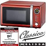 Melissa 16330109 Classico Mikrowelle Mikrowellenofen Retro-Design Metall-Gehäuse, 20 Liter Garraum, 700 Watt Mikrowellenleistung, Timer, 5 Leistungsstufen, Rot Metallic